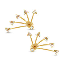 0.27CT 14K Yellow Gold Natural Diamond Triangle Spike Ear Jacket Stud Earrings