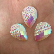 10pcs AB drop Resin  Flatback Rhinestone Wedding decoration 2 Hole  18mm*25mm -