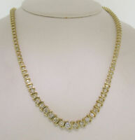 """14k Yellow Gold Over Graduated 9.79ctw Diamond S-Link Tennis Necklace 16"""" Chain"""
