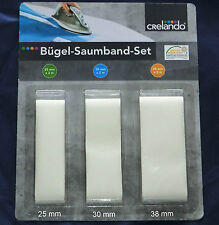 Bügel Saumband Set 3-teilig 25 mm 30 mm 38 mm Bügelband Fixierband