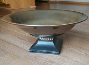 """Partylite Moroccan Brown Large 13.5"""" Ceramic Bowl On Wooden Stand Candle Holder"""