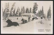RP Postcard CHURCHILL Man/CANADA  Trapper's Cabin & Husky Dog Sled Team 1950's
