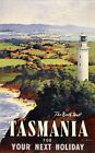 "Vintage Illustrated Travel Poster CANVAS PRINT North West Tasmania 24""X18"""