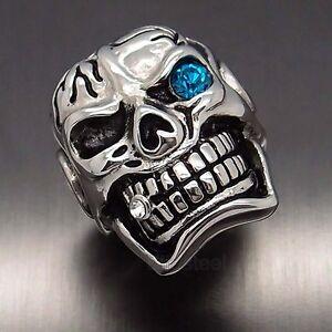 MENS Huge Silver Skull Blue Eye Cigar CZ 316L Stainless Steel Biker Ring