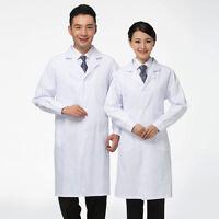 Hospital Lab Coat Scrub White Labcoat Long Jacket Unisex Medical Work Wear S-3XL