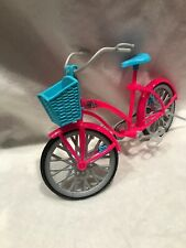 Barbie Doll Pink And Gray Bicycle Blue Basket