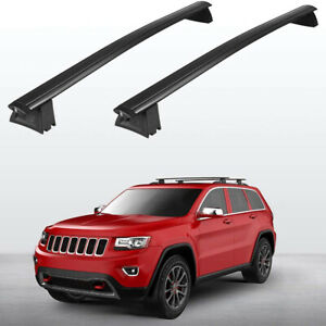 Black Front & Rear Roof Top Rack Cross Bar For 2011-2018 Jeep Grand Cherokee