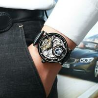 Herren Dual Time Leder Luxus Skelett Automatik Mechanische Uhr P8T3