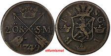 Sweden Fredrik I Copper 1749 2 Ore, S.M.Silvermynt Mintage-313,000  KM# 437