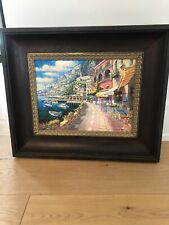 SAM PARK- DOCKSIDE AT AMALFI - Giclee on Canvas Deluxe,Framed,Cert Of Authentic