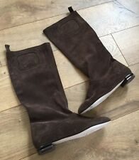 NEW SALVATORE FERRAGAMO WOMENS BROWN SUEDE LEATHER PULL ON TALL BOOTS SIZE 5 C W