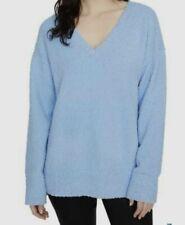 Sanctuary V-Neck Teddy Sweater Light Blue Size Medium Women