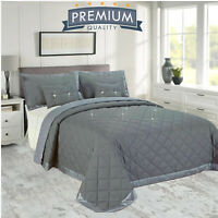 New Diamond Embossed Bedspread Quilted Double King Size Bed Throw & Pillowcases