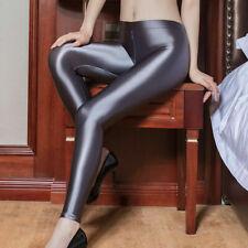 Lady Satin Glossy Opaque Pantyhose Shiny sports fitness Pants Zipper Open Crotch