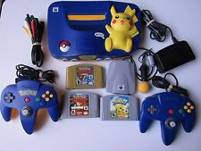 Nintendo 64 Pikachu System Complete 2 Controller Pokemon Stadium 1 & 2 Gift Kids