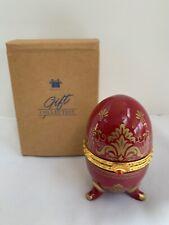 Porcelain Hinged Egg w/ quartz Clock Avon Collectible 2000 Ruby Red Trinket Box