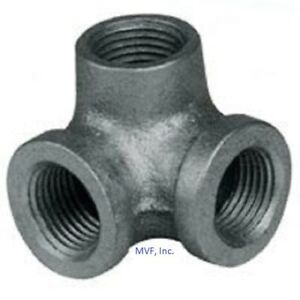 """3/4"""" 150 NPT Side-Outlet 90° Elbow Black Malleable Iron Fitting <MI010541BMI-SO"""