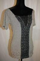 Free People Women's Top Striped Urban Outfitters Blouse short sleeve Mint size L