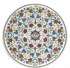 "44"" Round Marble Dining Table Top Marquetry Mosaic Floral Inlay Outdoor Decor"