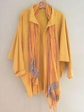 EUC Women's Ribbed Jacket Orange/Gold Scarf French Seams Pockets Lagenlook