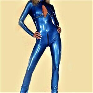 Sexy Frauen Blue Catsuit Hollow Out Bodycon Bodysuit Clubwear Zentai  Gr. L