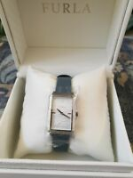 Furla Women's R4251104507 Silver Dial With Blue Leather Calfskin Band Watch.