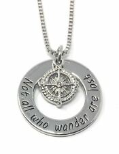 925 Silver Plt 'Not All Who Wander Are Lost' Compass Travel Engraved World A