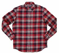 Club Room Mens Shirt Red Size Medium M Button Down Flannel Longsleeve $39 #219