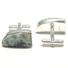 Tree Agate Gemstone Handmade 925 Sterling Silver Cufflinks Jewelry 3080
