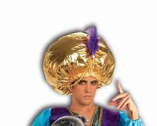 Jumbo Large Gold Turban Indian Bollywood Magician Costume Mens Adult Feather Hat