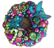 Vintage Bright Christmas ornament wreath 19 Inch 21500 Aqua Pink Green Fuscia
