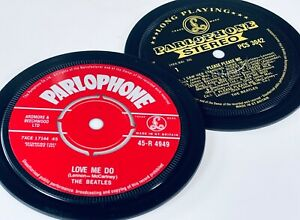 The Beatles- 2 coasters. Love Me Do. Please Please Me. Black and gold Parlophone