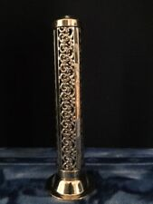 All Brass Tower Incense Burner With Scroll Work Cutout