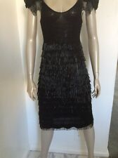 NWT Giorgio Armani Emporio Armani Bugle Bead Sz 44 Sexy LBD Black Cocktail Dress