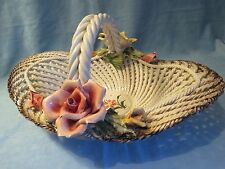 Antique Large Capodimonte Porcelain Basket Dish with Applied flowers and Handle