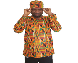 Unisex Long Sleeve Kente Print Type#2 Shirt/Blouse/Dress with Matching Hat