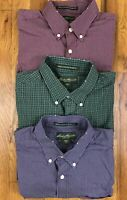 LOT 3 Eddie Bauer Relaxed Fit Wrinkle Resistant L/S Plaid Shirts Size Medium M
