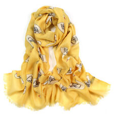 100% Pure Wool Woman's Pashmina Scarf Soft Wrap Stole Goose Print in Yellow Blue