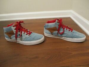 Used Worn Size 13 Vans OTW Collection Bedford Shoes Denim Blue Brown White Red