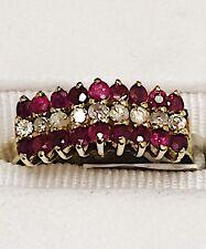 ESTATE FACETED RUBY & DIAMOND RING 14K KARAT YELLOW GOLD  1/3 CARAT  2.5 Grams