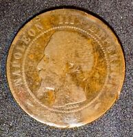 1854 A France or French 10 Centimes Bronze Coin Y#17  (921)