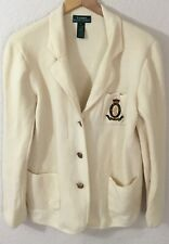 Lauren Ralph Lauren Women's 100% Merino Wool Cream Cardigan Sweater Crest Logo L