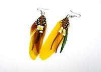 Bunte Ohrringe Paar Ohrhänger Hänger farbige Federn Indianerschmuck gelb
