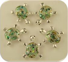 2 Hole Beads Sea Turtles Loggerhead Abalone OCEAN Sand BEACH Jewelry Charm QTY 5