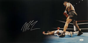 Mike Tyson 12x24 Signed Panoramic Knock Out Photo JSA ITP