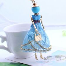 Lovely Girls Shaped Doll Full Rhinestones Pendant Necklaces Long Sweater Chain Blue