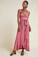 NWT $160 Maeve by Anthropologie Gabriela Ruffled Maxi Dress Pink Combo Size S