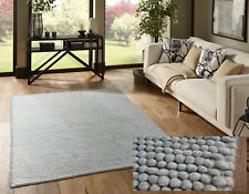 MEDIUM & LARGE THICK GREY PEBBLES BOBBLES BOBBLY 100% WOOL 3D RUG CLEARANCE