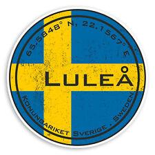 2 x 10cm Lulea Sweden Vinyl Stickers - Swedish Flag Luggage Sticker #30494