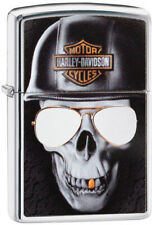 Zippo Lighter Harley Davidson Skull Windless USA Made 06740